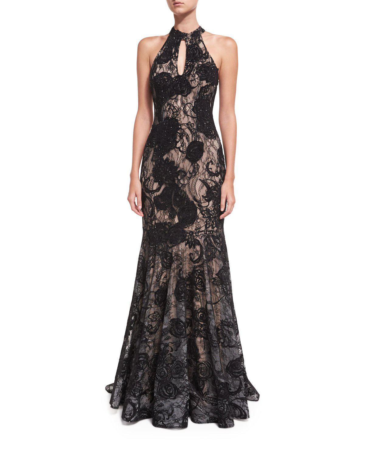 4e1850a4ae32 Jovani Floral Embellished Sleeveless Halter Evening Gown in Black - Lyst