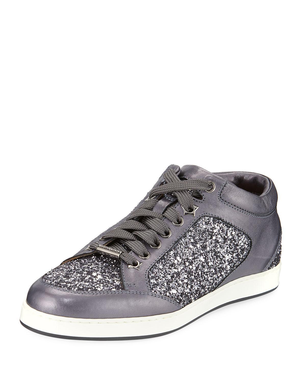Jimmy choo Sneakers MIAMI calfskin glitter Glitter Logo wCVPeOTzt
