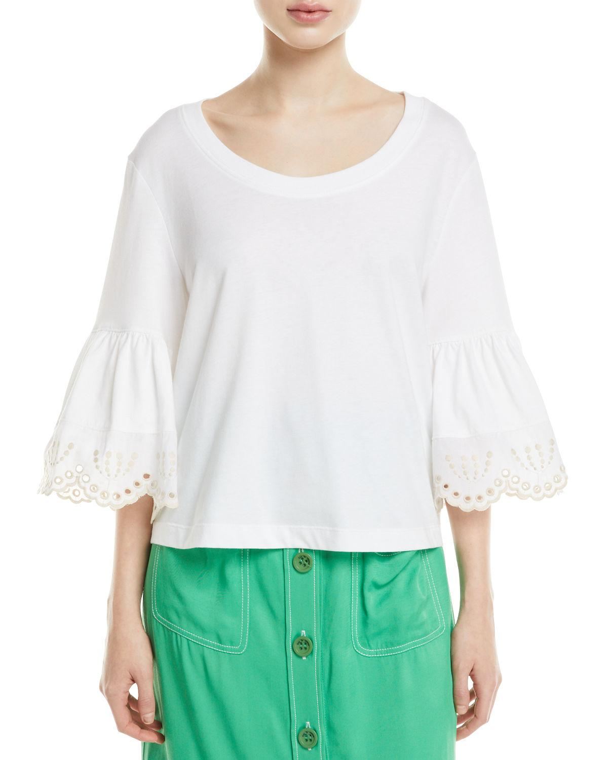 6c1a00f16af93 Lyst - See By Chloé Lace-cuff Cotton Top in White