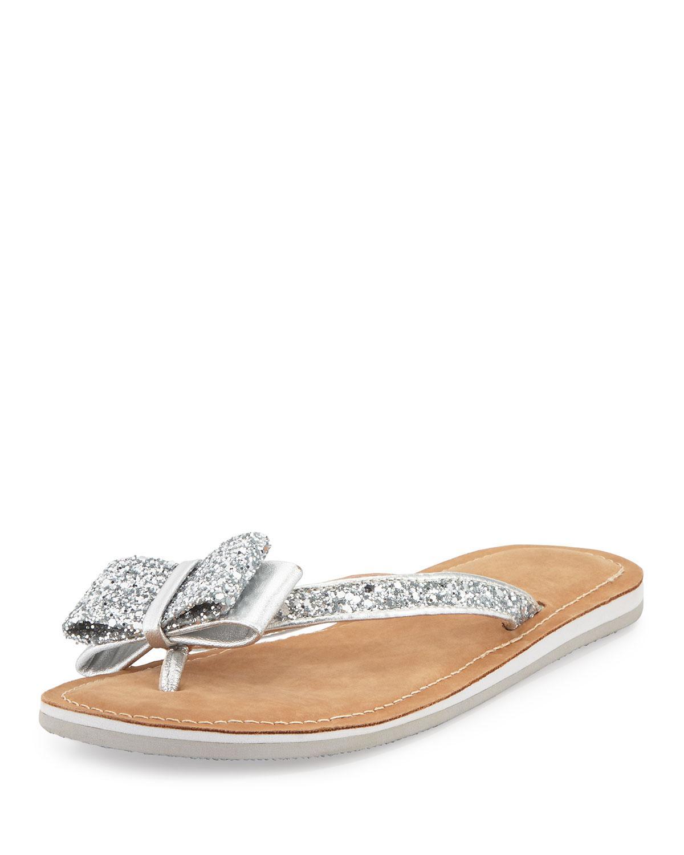 Follie Metallic Glitter Bow Detail Jelly Thong Sandals teMFY5iHzX