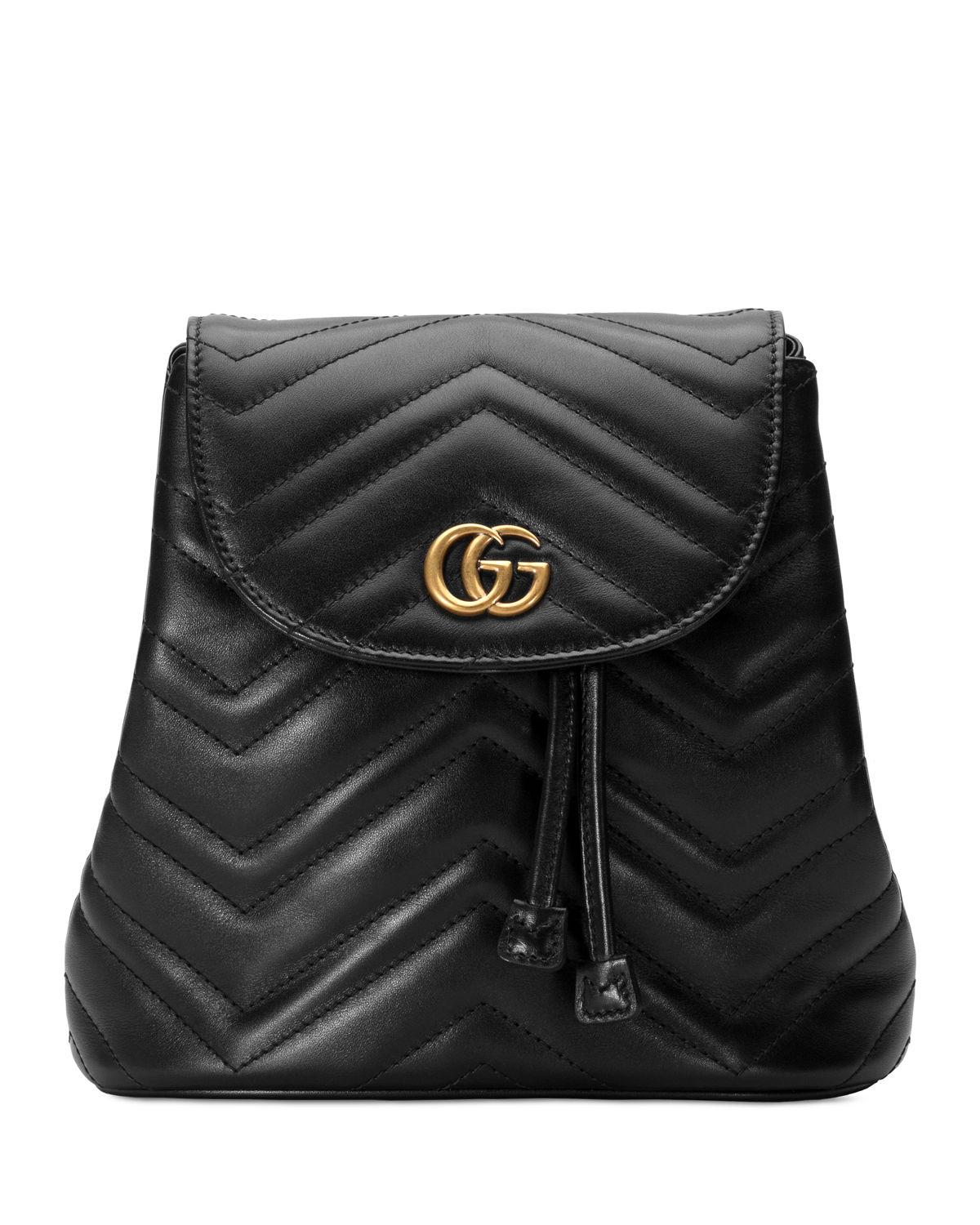 e97f42acb612 Lyst - Gucci GG Marmont Chevron-quilted Leather Backpack in Black ...