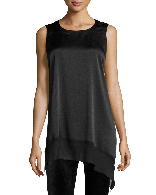 9d8c63edd8 Lyst - Eileen Fisher Stretch Silk Asymmetric Tunic in Black