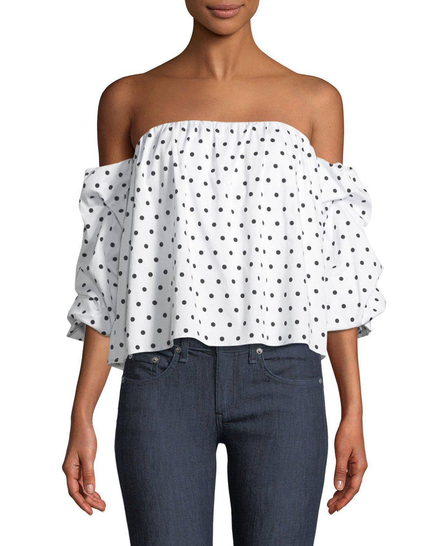 0d7970d5e423e7 Bardot Polka-dot Print Off-the-shoulder Bustier in White - Lyst
