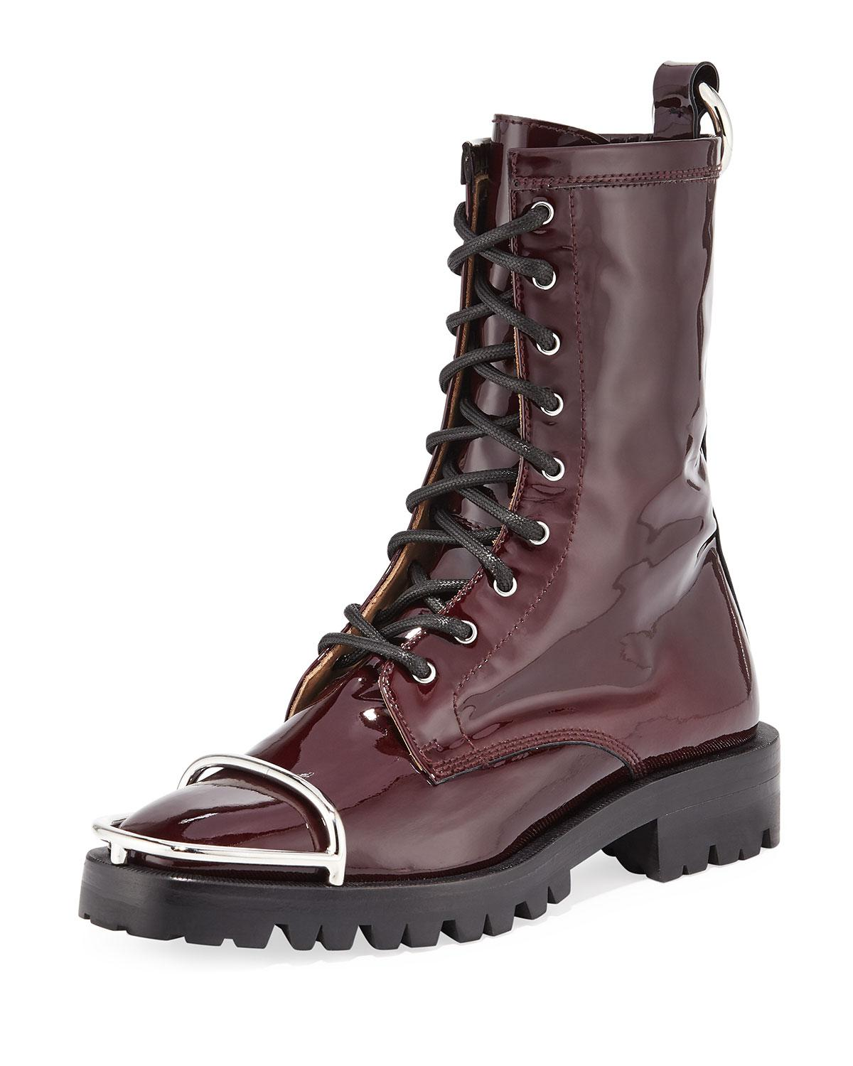 c8ab92b4402a Lyst - Alexander Wang Kennah Patent Leather Combat Boots With Brush ...