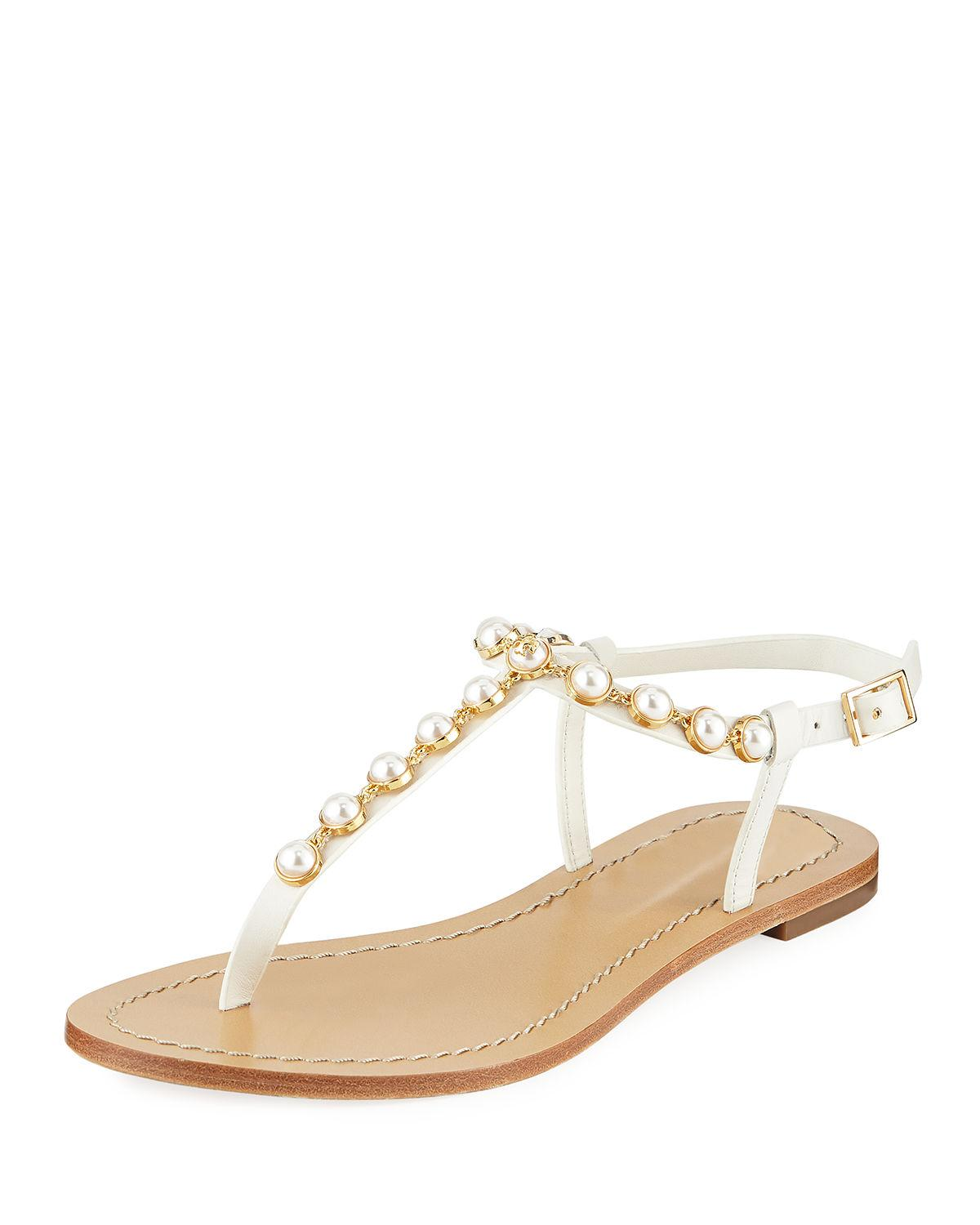 7b9e49a2a70c Tory Burch. Women s Emmy Pearly Beaded Flat Sandals