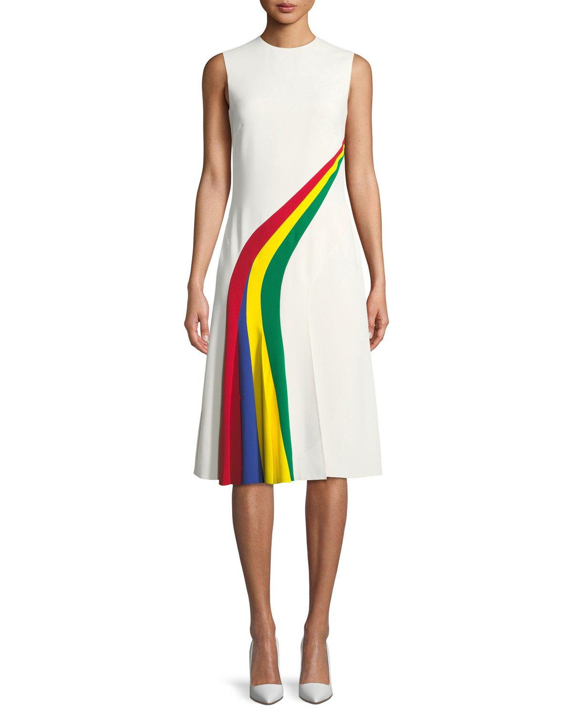 8a1d9d9ca7 Ralph Lauren Collection Celesse Sleeveless Rainbow Stripe Fit-and ...
