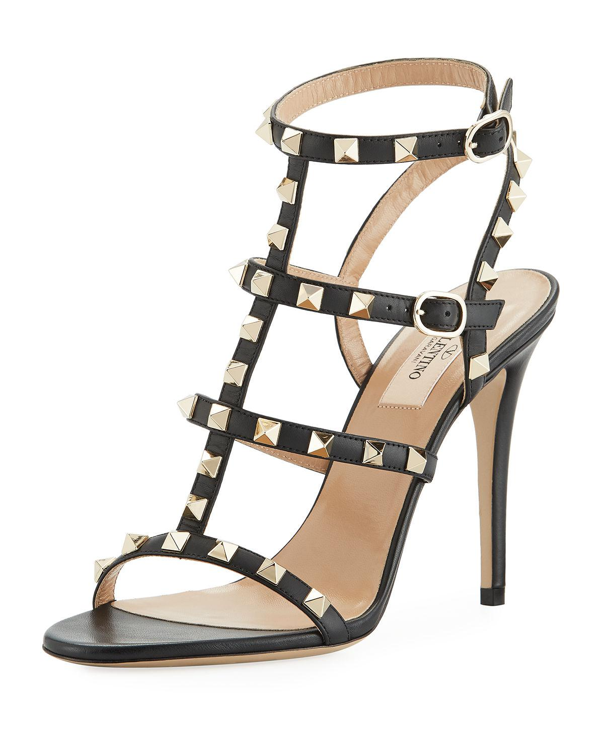 35afb2e553c5 Lyst - Valentino Rockstud 105mm Caged Leather Sandals in Black ...