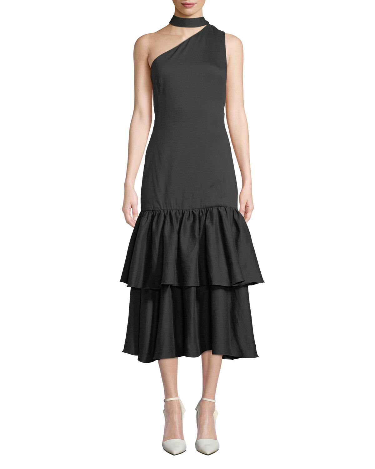 18a1f824e3d Lyst - Rejina Pyo Lizzie Asymmetric Tiered Woven Midi Dress in Black ...