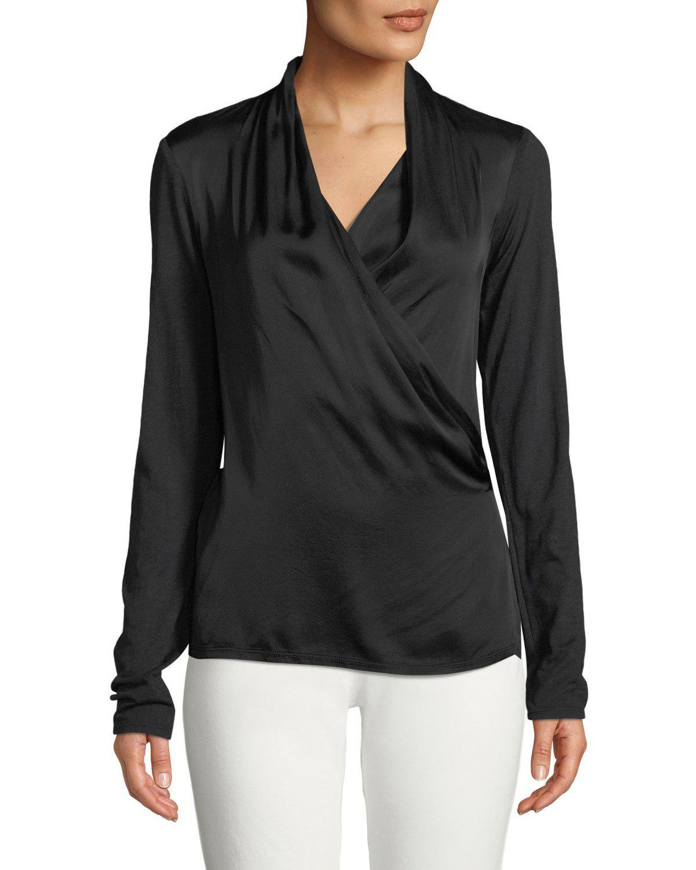 df2da1aa39dbb9 Velvet - Black Bedelia Wrap-front Long-sleeve Top - Lyst. View fullscreen