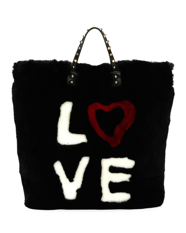 Lyst - Dolce   Gabbana Beatrice Dg 4 Ever Fur Tote Bag in Black 252d97a0e9