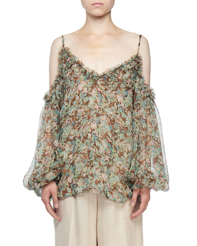 034ff341896ad Stella McCartney. Women s Brown Cold-shoulder Meadow Floral Print Blouse