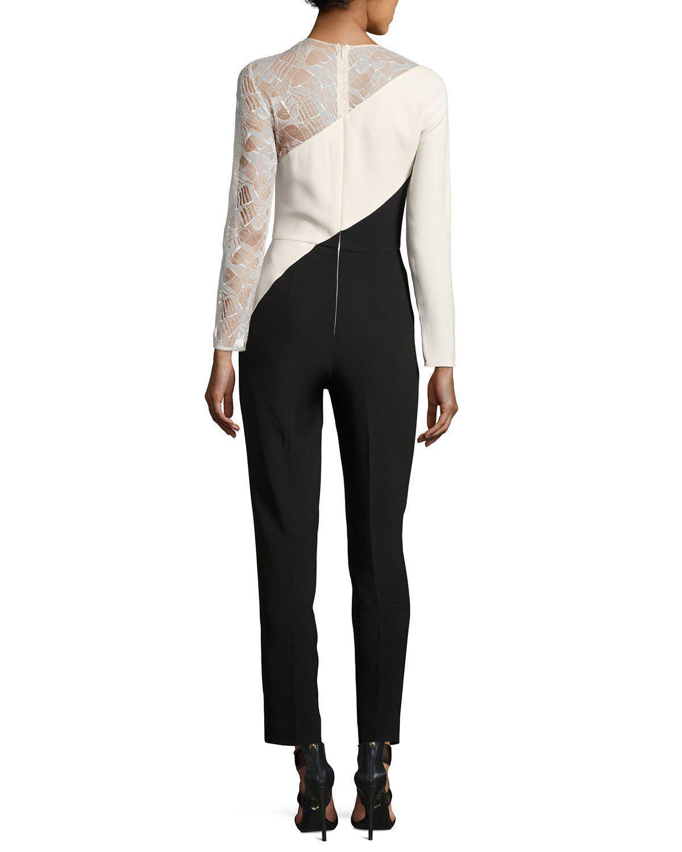 7db0c925117 Lyst - Elie Saab Lace-inset Long-sleeve Jumpsuit in Black