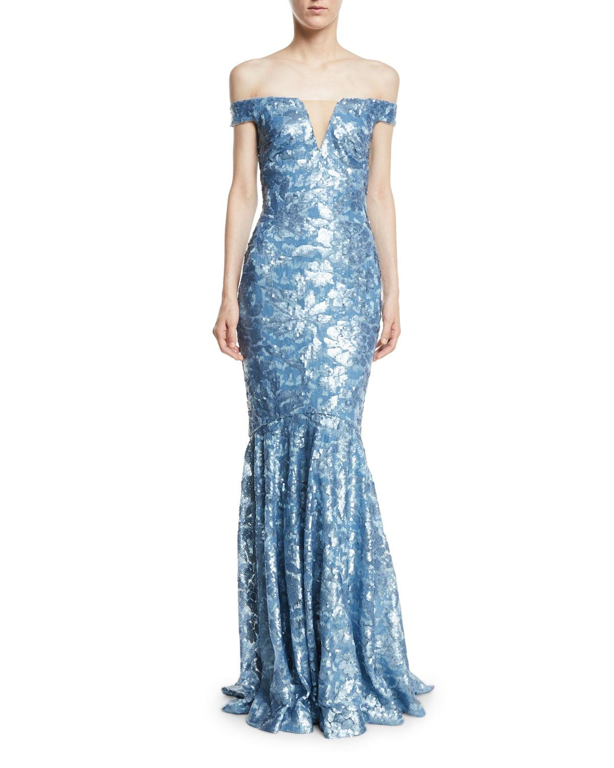 Lyst - Theia Sequin Embellished Off-the-shoulder Gown in Blue
