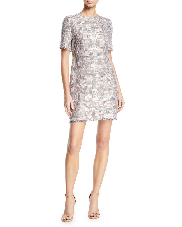 9fbf79d00149 Lyst - Emporio Armani Short-sleeve Tweed Fringe-trim Dress in Gray