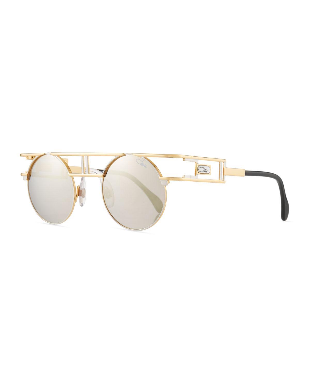 89b47e61325 Lyst - Cazal Men s Round Double-bar Metal Sunglasses in Metallic for Men