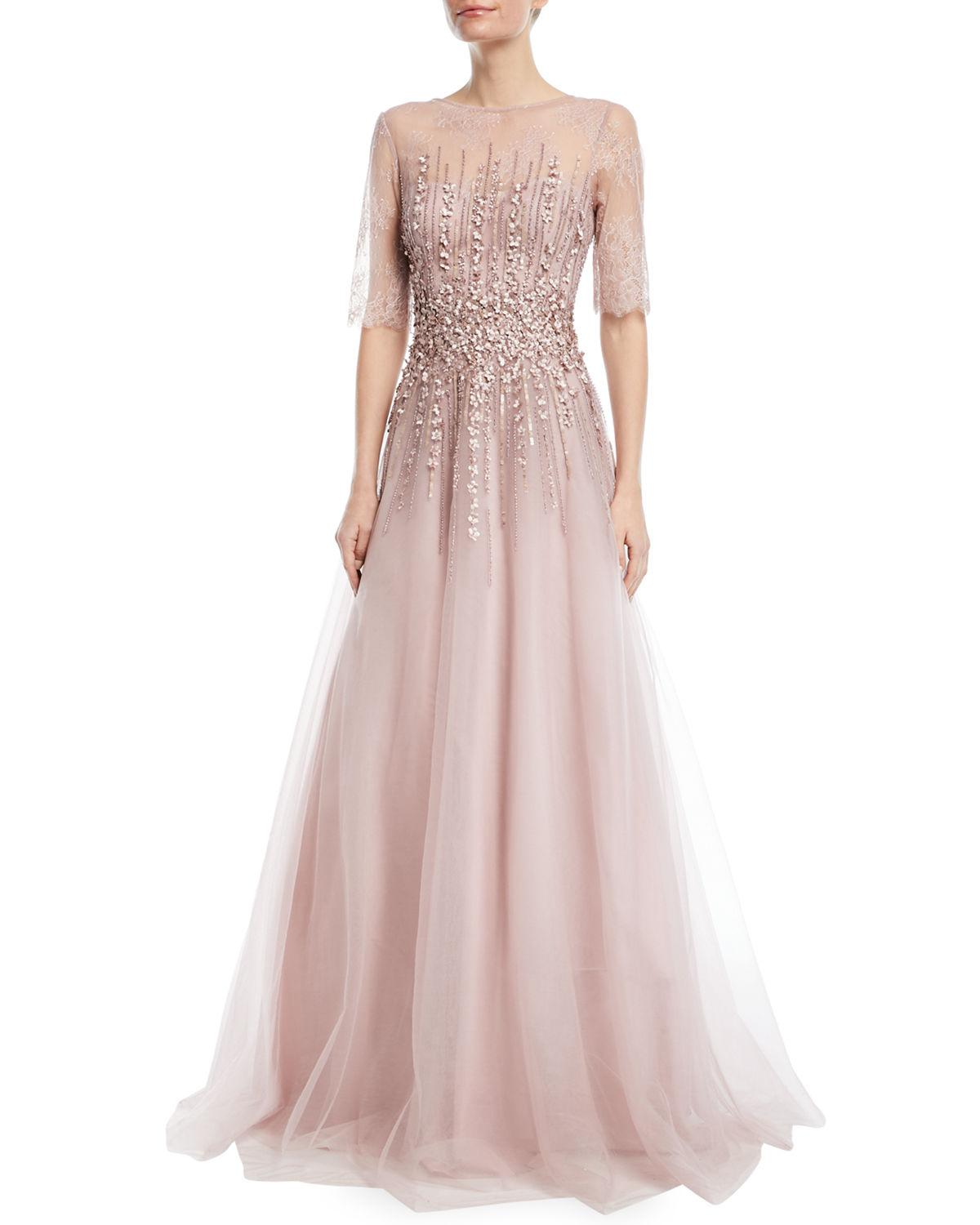Lyst - Teri Jon Beaded Lace & Tulle Gown in Pink