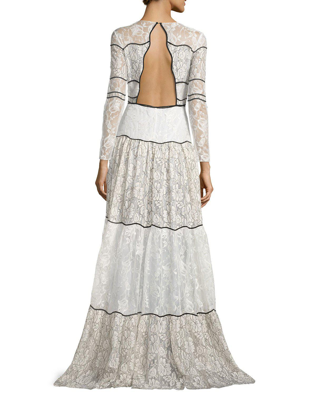 Lyst - Sachin & Babi Sara Long-sleeve Paneled Lace Gown in White