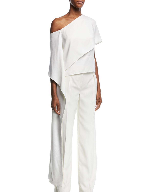 7634629922b9d Narciso Rodriguez. Women s White One-shoulder Silk Satin Blouse ...