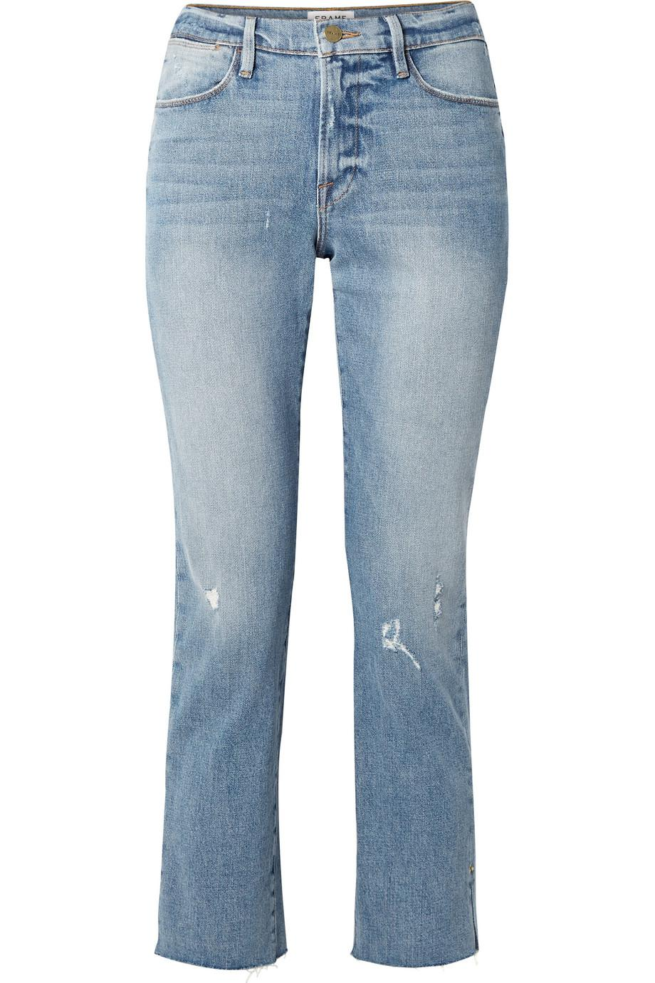Get Authentic Sale Online Big Discount Le High Distressed Cropped Straight-leg Jeans - Mid denim Frame Denim V2Fj9