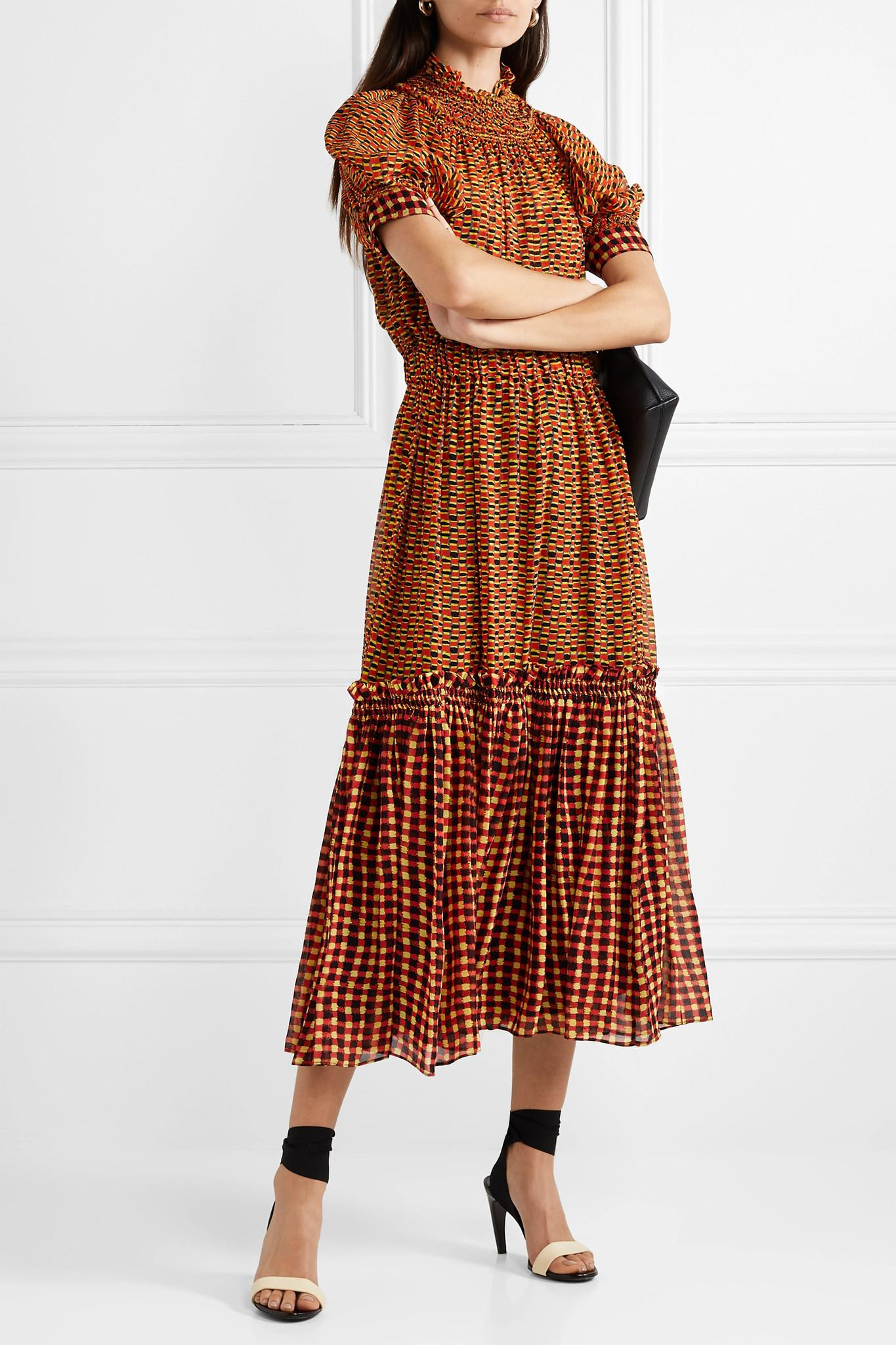 3e4c98fb41b5 Lyst - Proenza Schouler Tiered Printed Silk-chiffon Maxi Dress in ...
