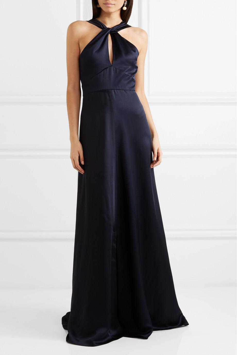 Aviator Open-back Satin Gown - Navy Temperley London Cheap Sale Discounts Clearance Wide Range Of Clearance Visit GT7rNvu7BB