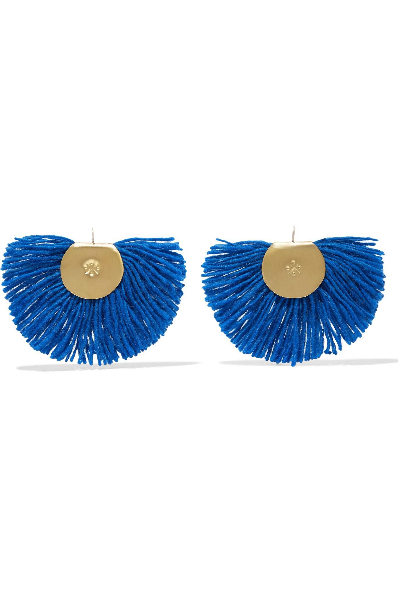 Fan Fringed Gold-tone Earrings - Blue Katerina Makriyianni Ev5GwtF5K