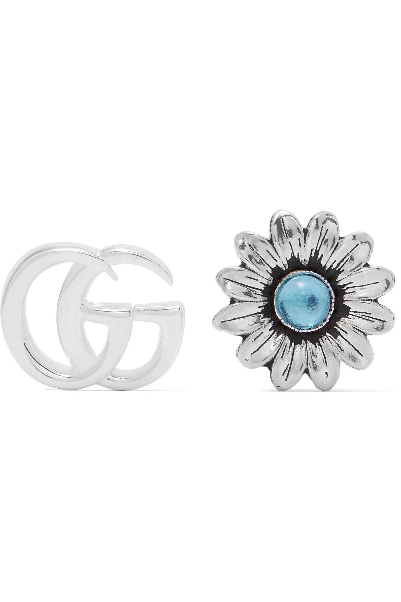 5f0f92e4e44 Lyst - Gucci Marmont Silver-tone Multi-stone Earrings in Metallic