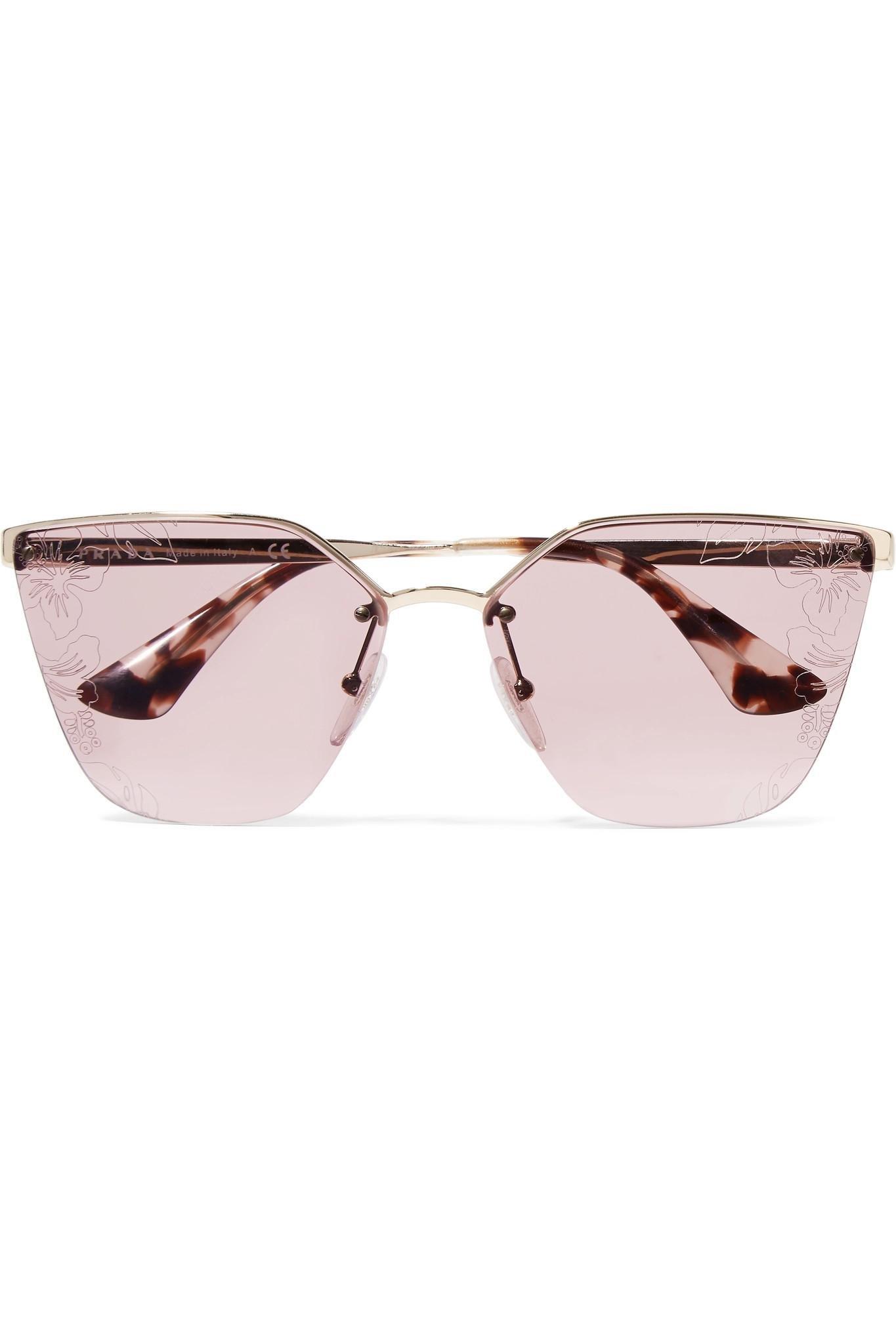 84151221e81b ... italy prada. womens metallic cat eye acetate and silver tone sunglasses  44b54 9c317 ...