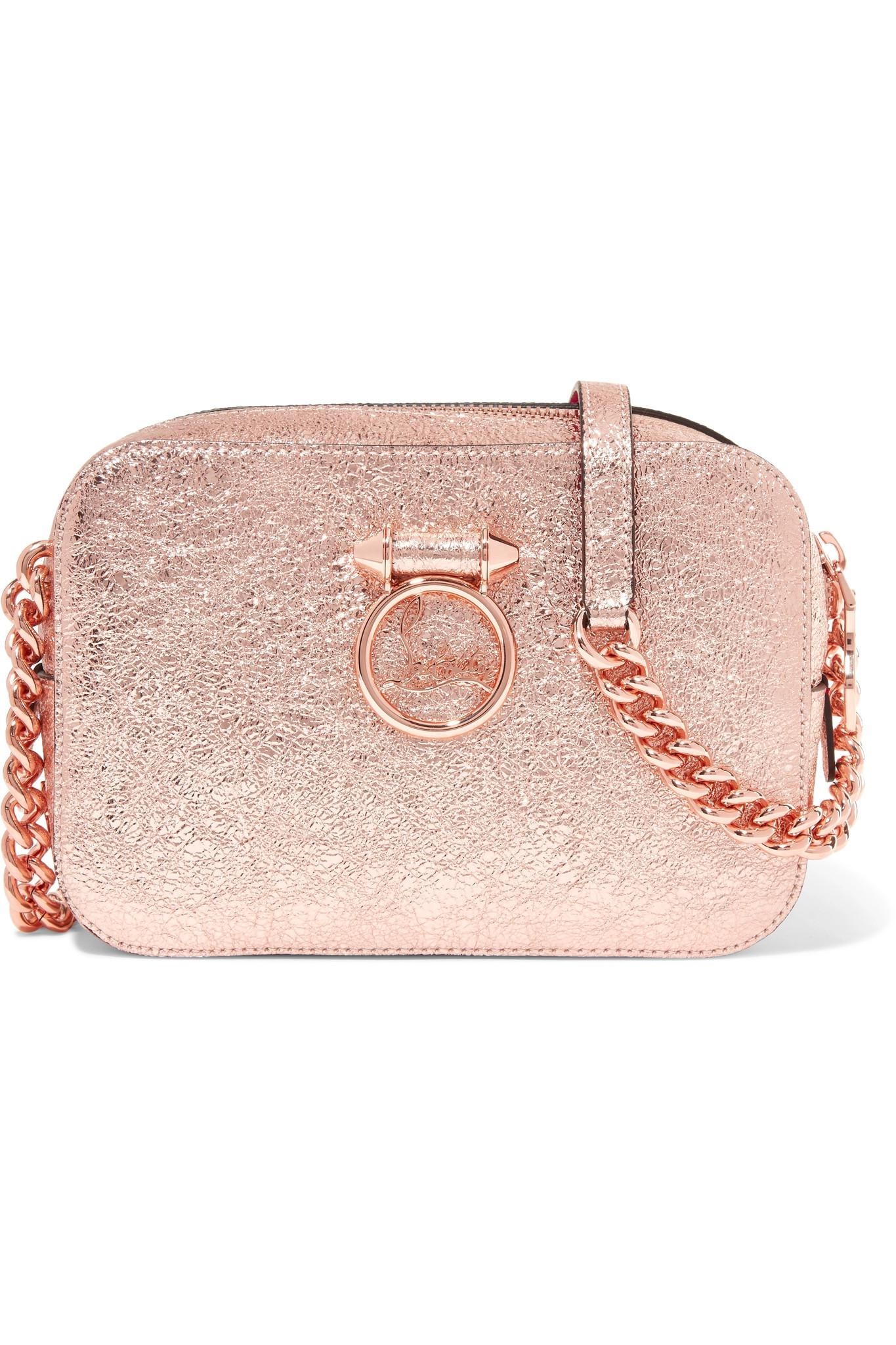 7b86c3bc5caf Christian Louboutin. Women s Pink Rubylou Metallic Textured-leather  Shoulder Bag