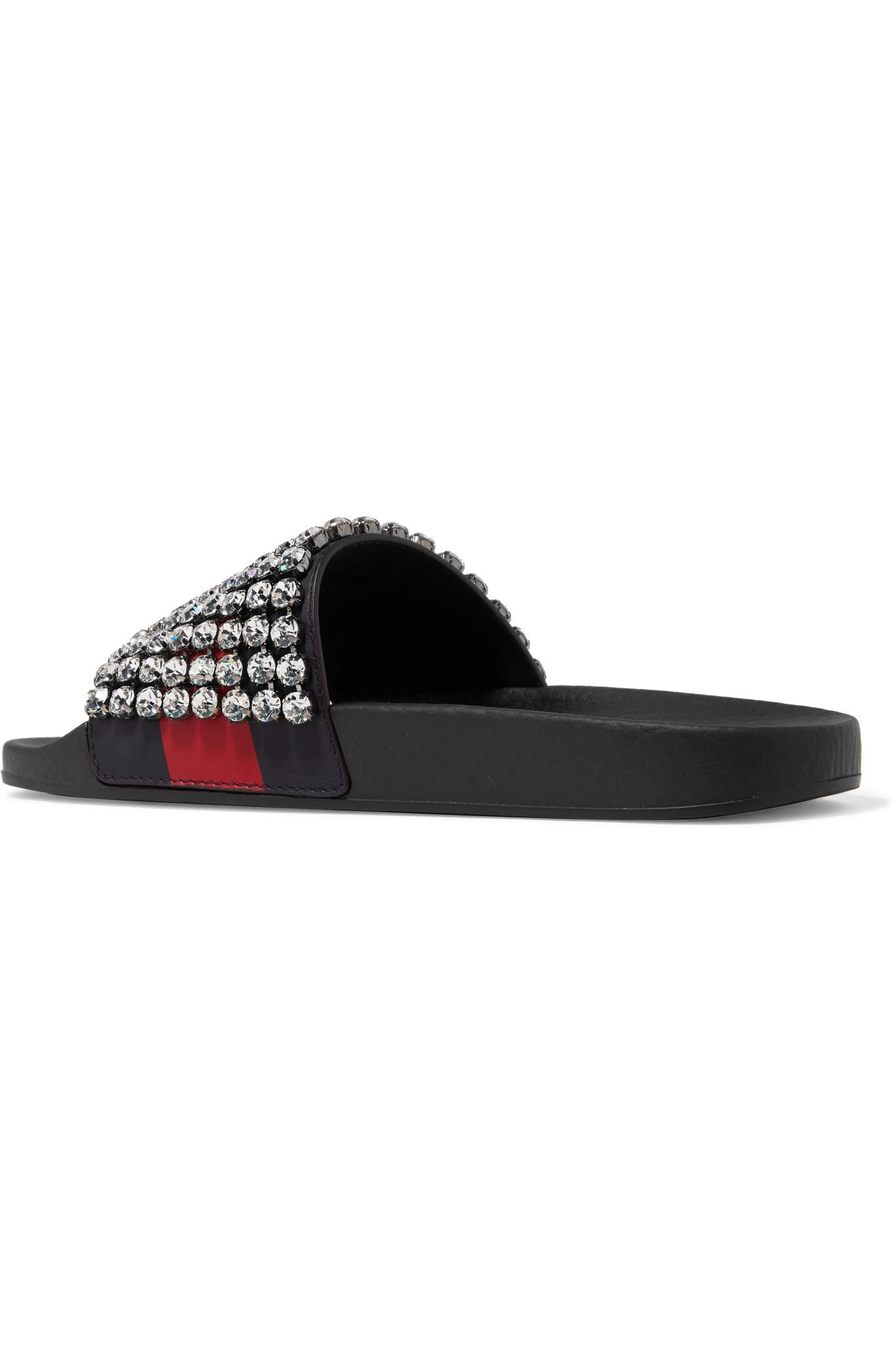 522490f643f Lyst - Gucci Crystal-embellished Leather And Rubber Slides in Black