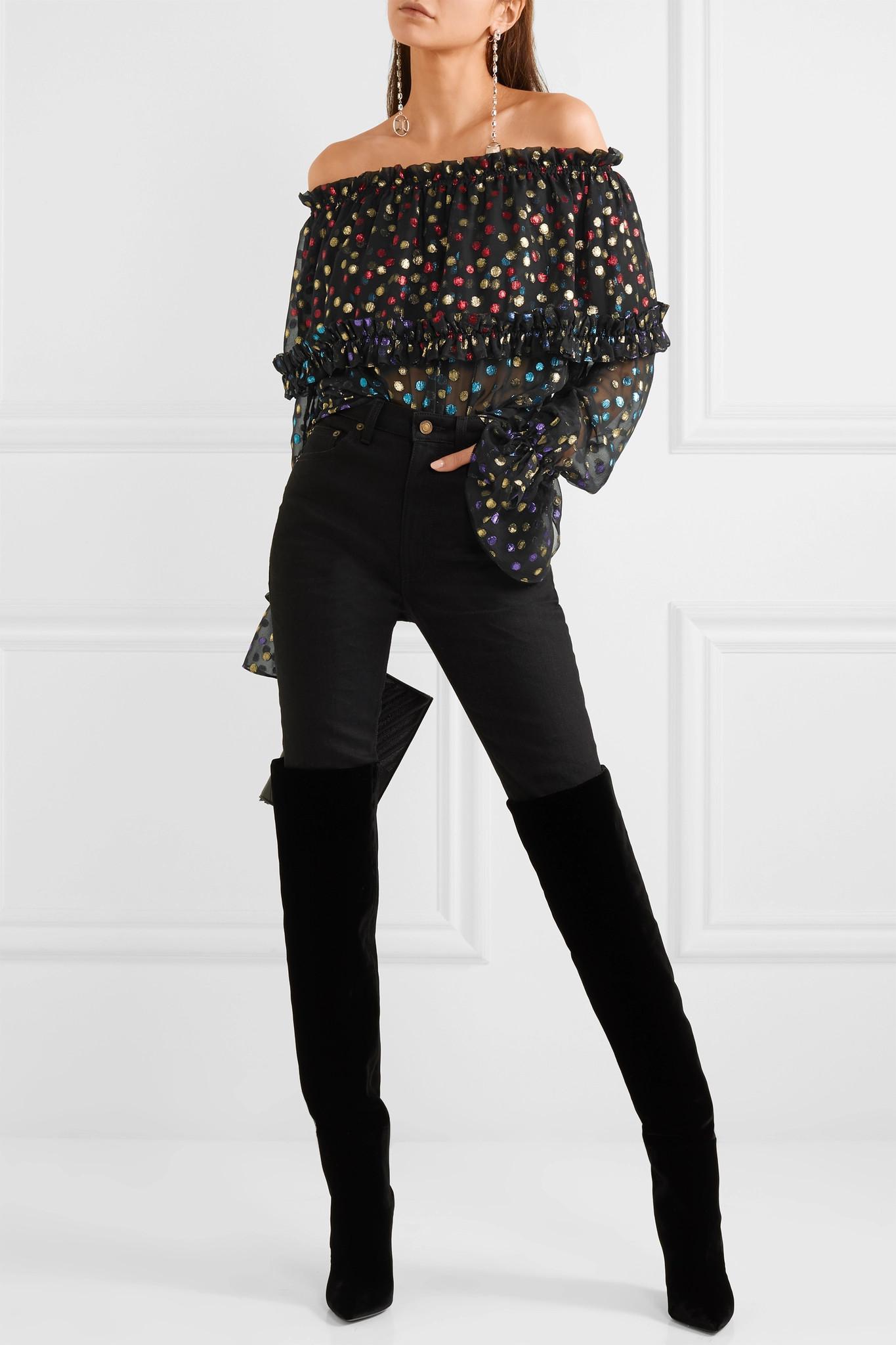 With Mastercard Online Outlet Fake fil coupé off the shoulder blouse - Black Saint Laurent GROQJpP