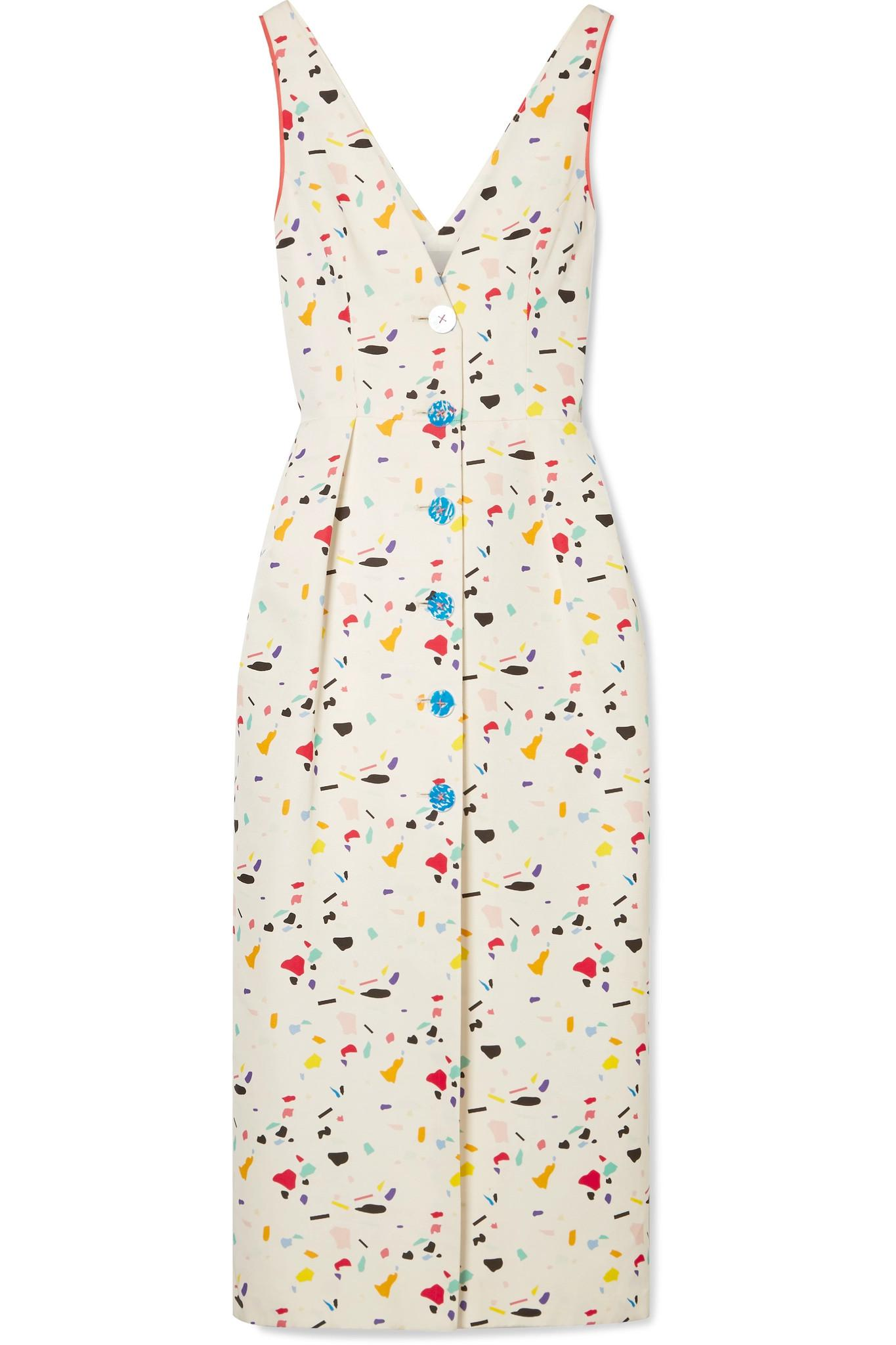 Cheap Pay With Visa Quality Original Printed Cotton-blend Faille Midi Dress - Ivory Carolina Herrera Best Seller Cheap Price Get To Buy Sale Cheapest GQ0Xq0