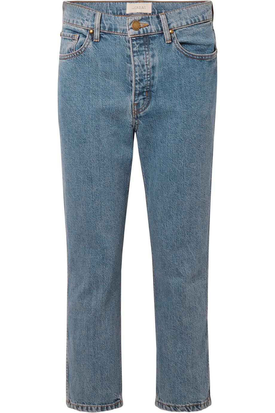 The Rigid Fellow Cropped High-rise Straight-leg Jeans - Mid denim The Great. TLLcYt27y