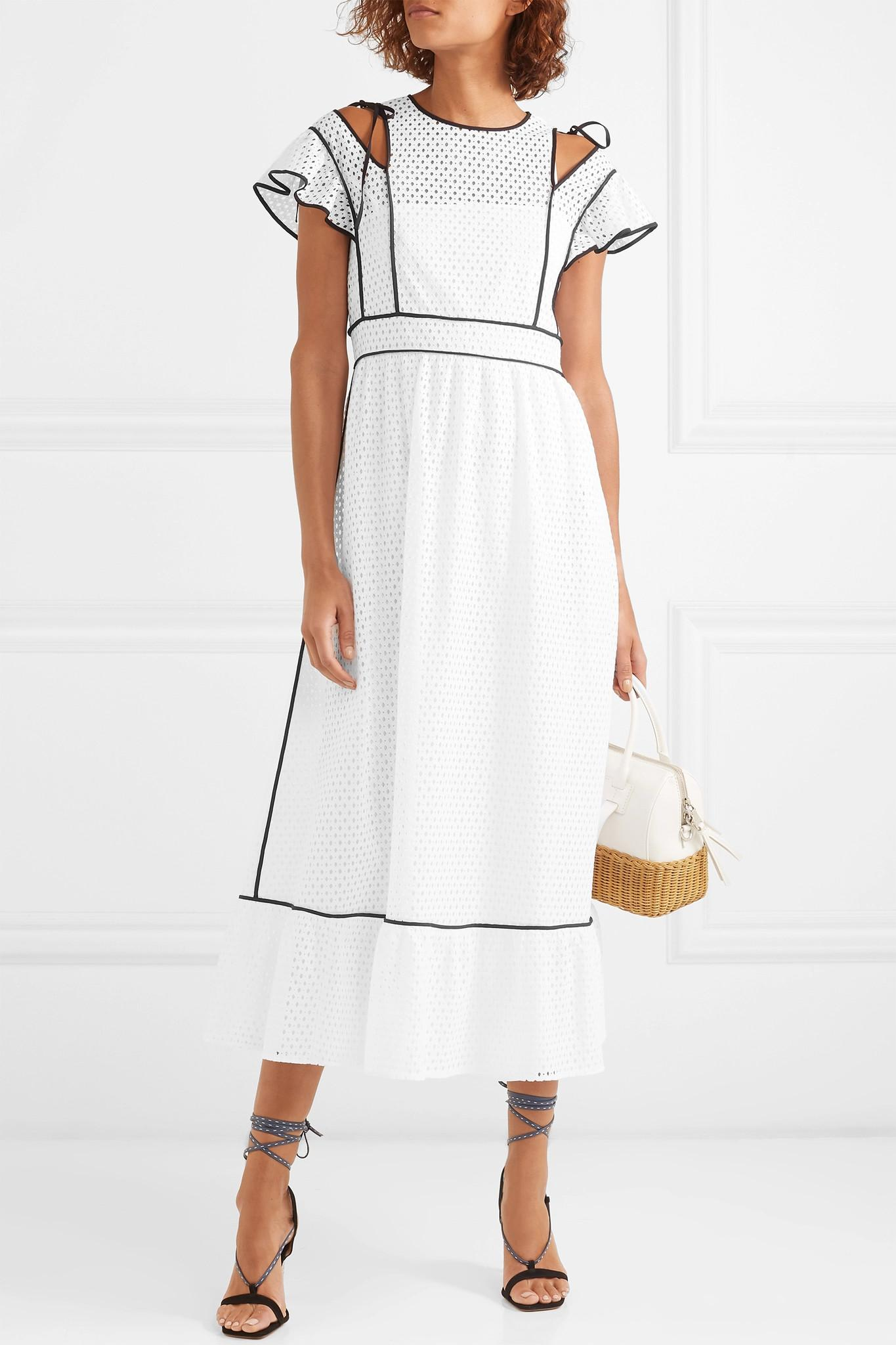b95f4b5ddb9 ... White Cutout Ruffled Broderie Anglaise Woven Dress - Lyst. View  fullscreen
