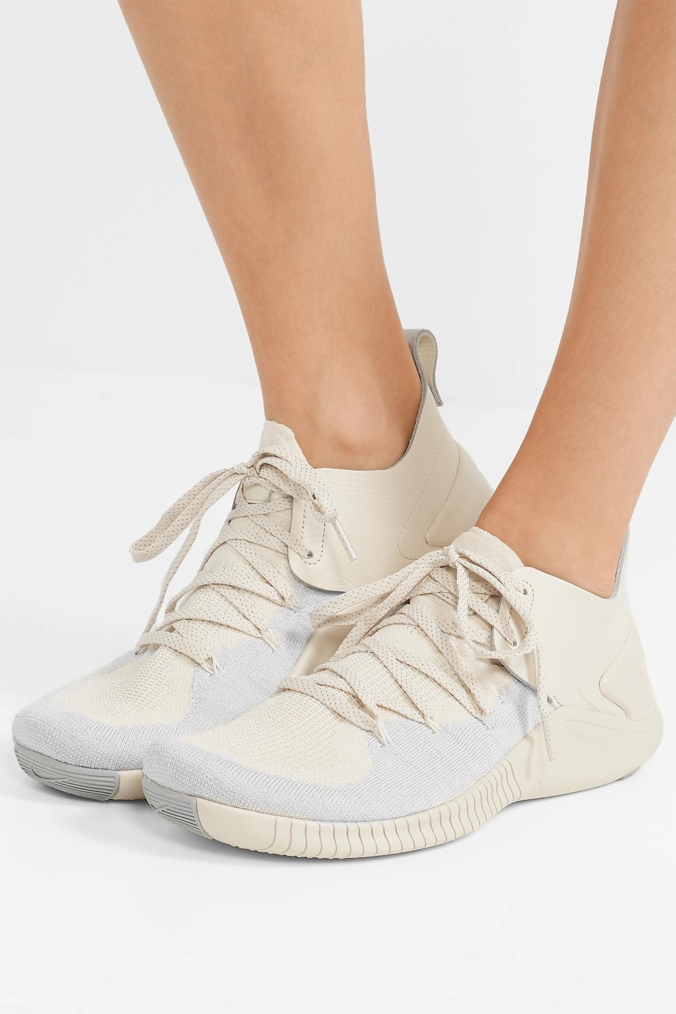 bc6126a017aa1 Lyst - Nike Free Tr 3 Champagne Crinkled Leather-trimmed Flyknit ...