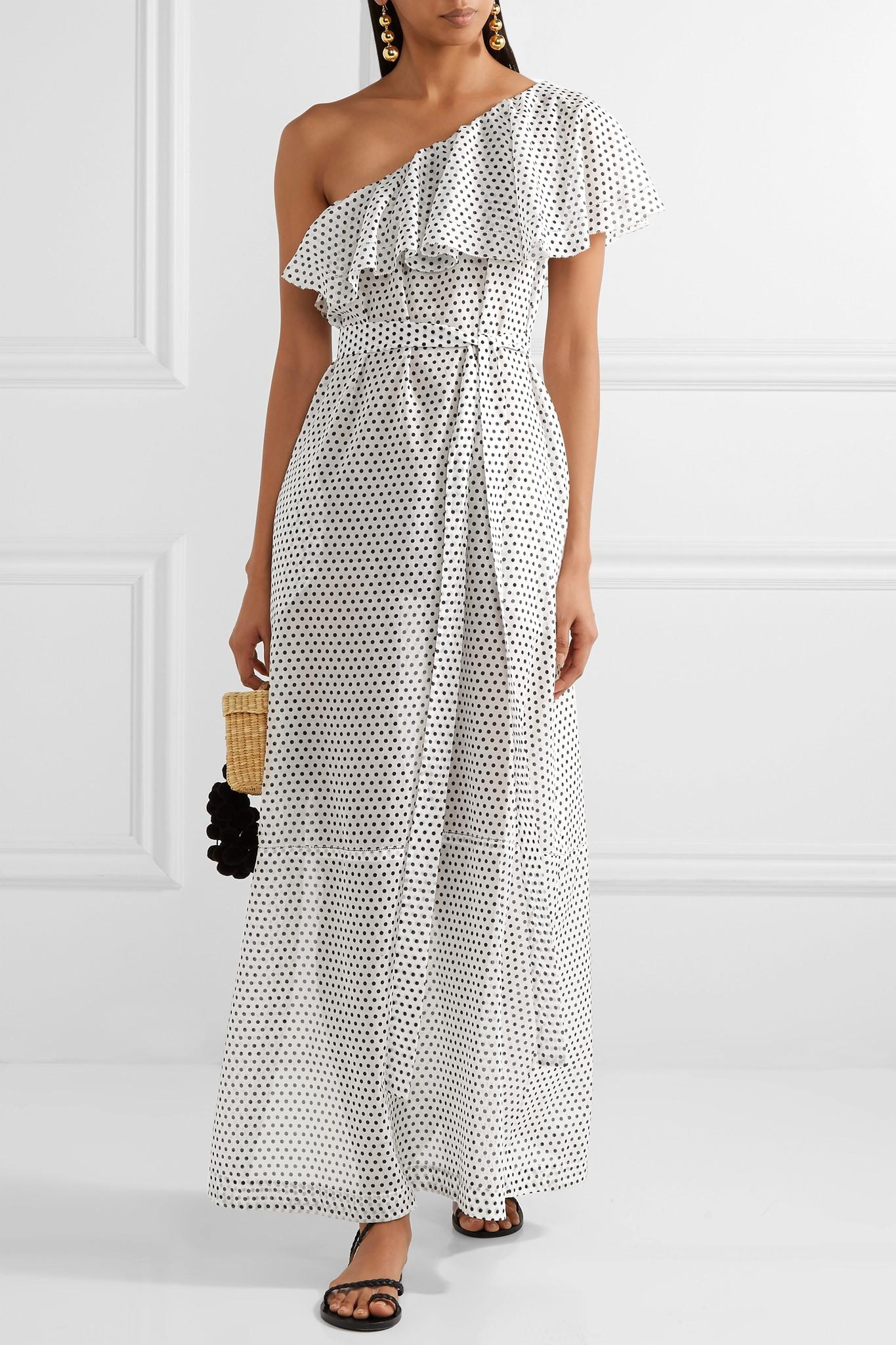 357d0a13f1 Lisa Marie Fernandez - White Arden One-shoulder Polka-dot Cotton-voile Maxi.  View fullscreen