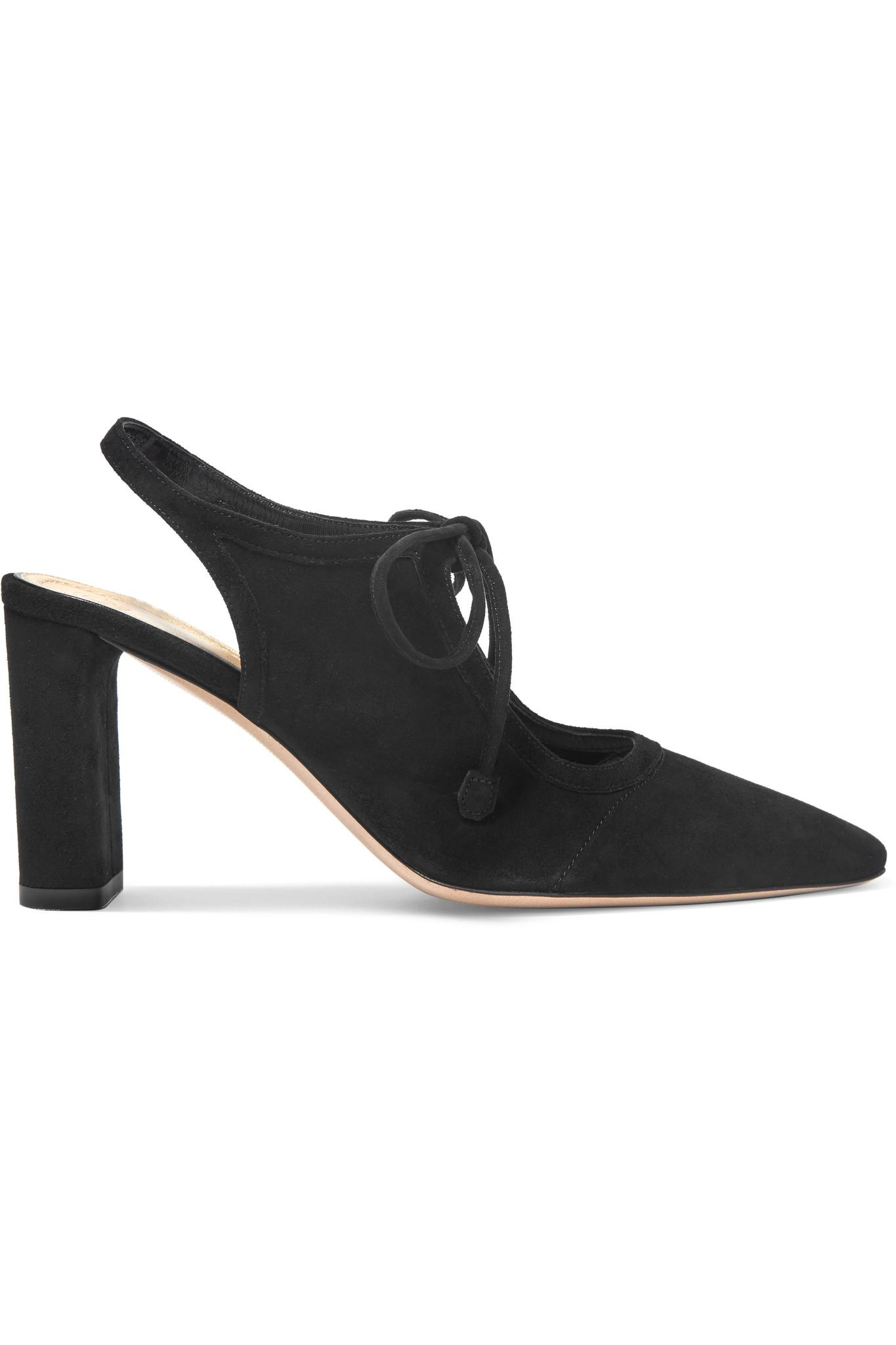 9c81aa44b1f The Row Camil Cutout Suede Pumps in Black - Lyst