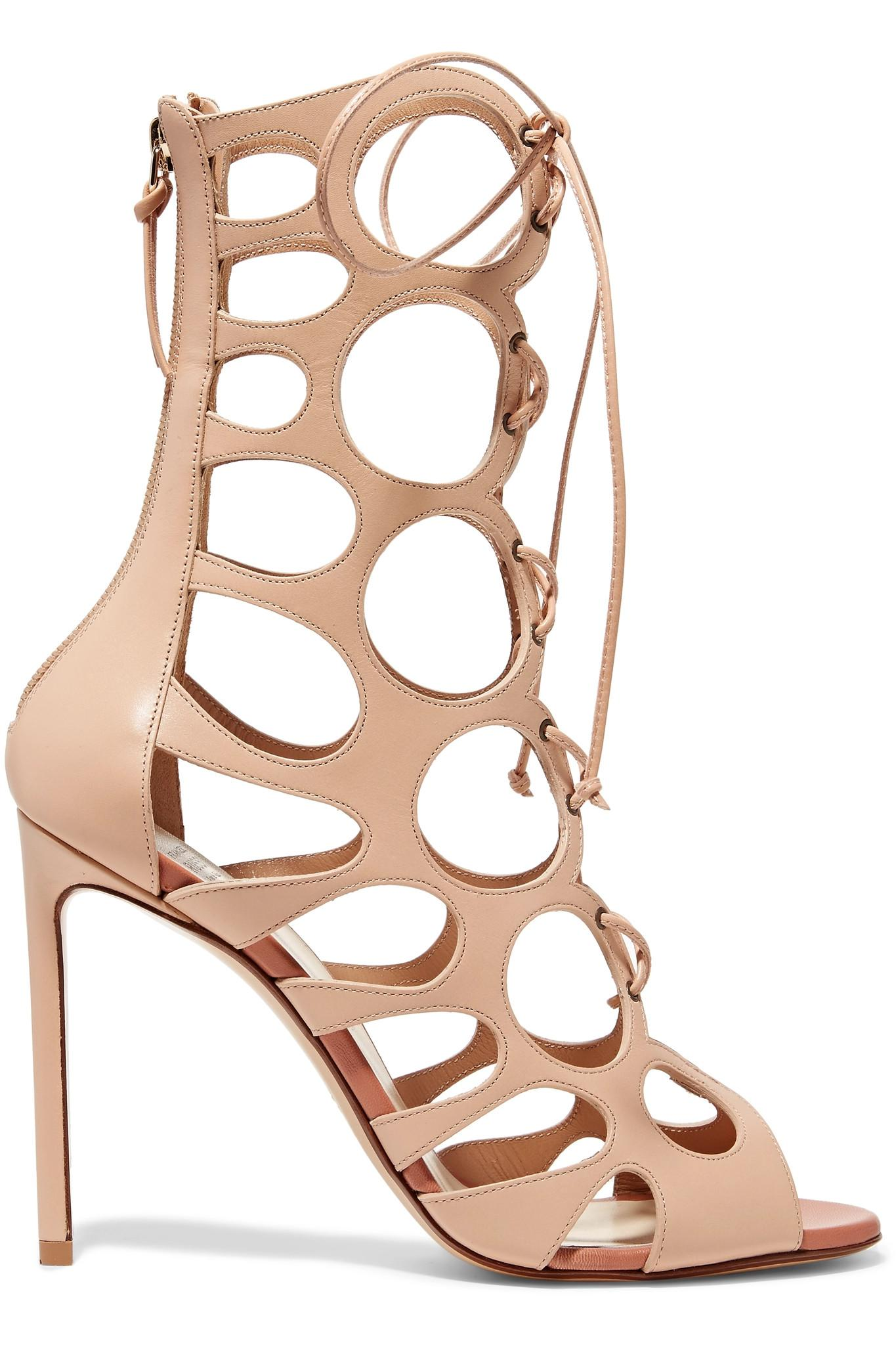 Cutout Leather Sandals - Beige Francesco Russo
