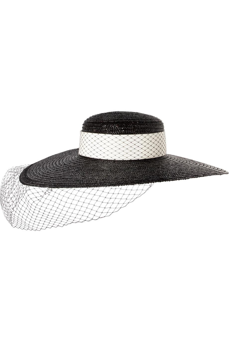 Lettie Grosgrain-trimmed Striped Straw Boater - Black Eugenia Kim Gej3Nts2O