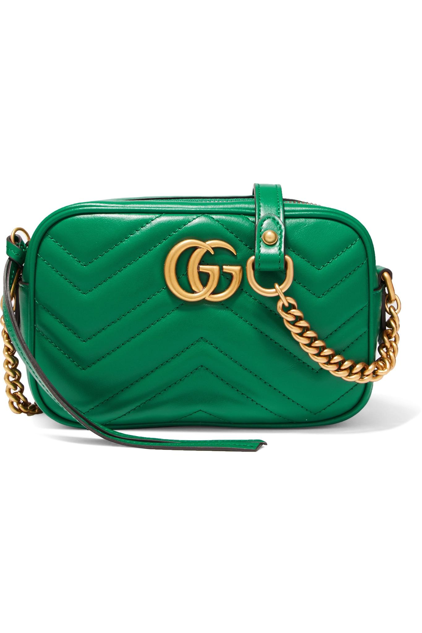 43b4df68c69e Gucci Gg Marmont Camera Mini Quilted Leather Shoulder Bag in Green ...