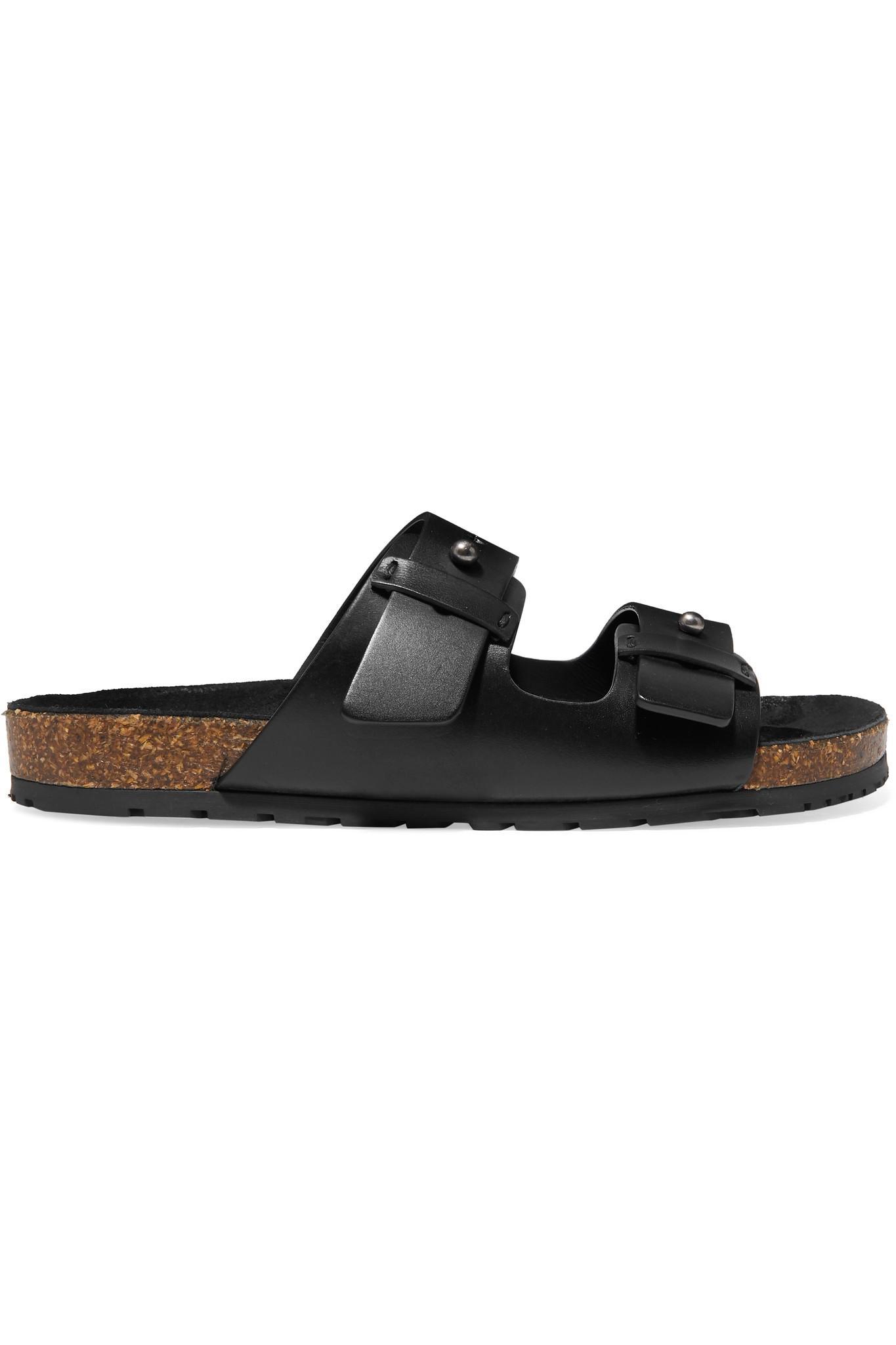 dfc5f2193da9 Saint Laurent Jimmy Leather Slides in Black - Lyst