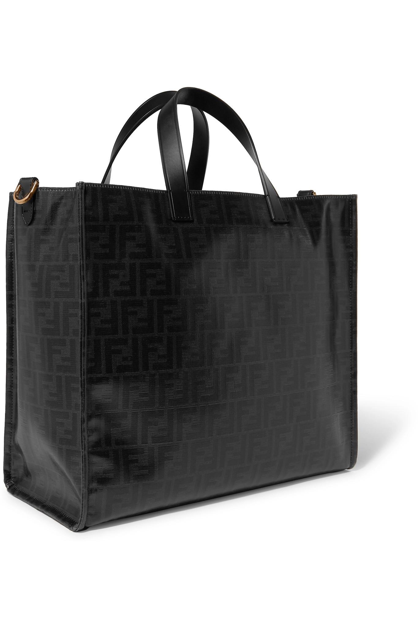 a100a771ea Fendi - Black Leather-appliquéd Coated-canvas Tote - Lyst. View fullscreen