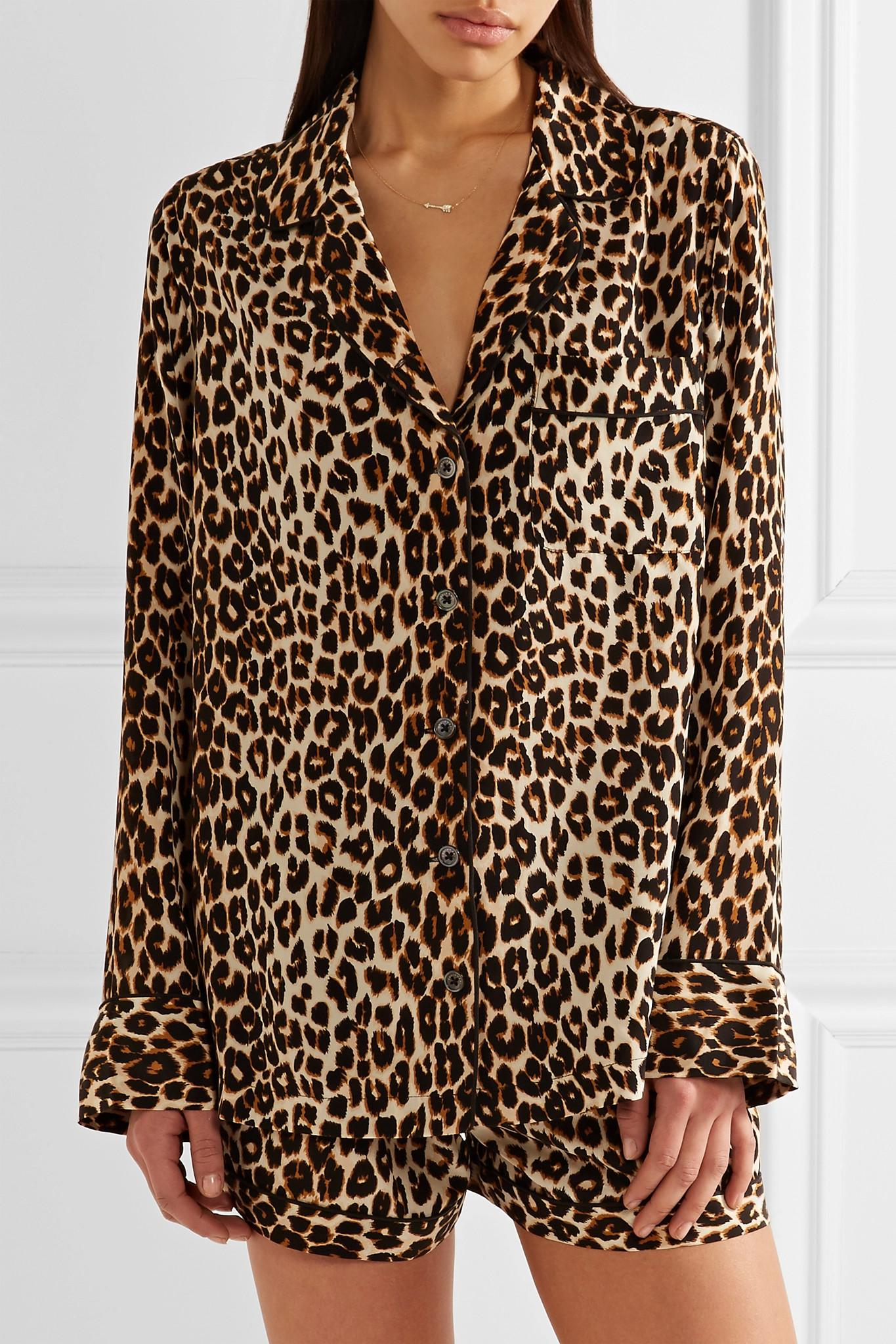 84f222bd23 Lyst - Equipment Lillian Leopard-print Washed-silk Pajama Set in Brown