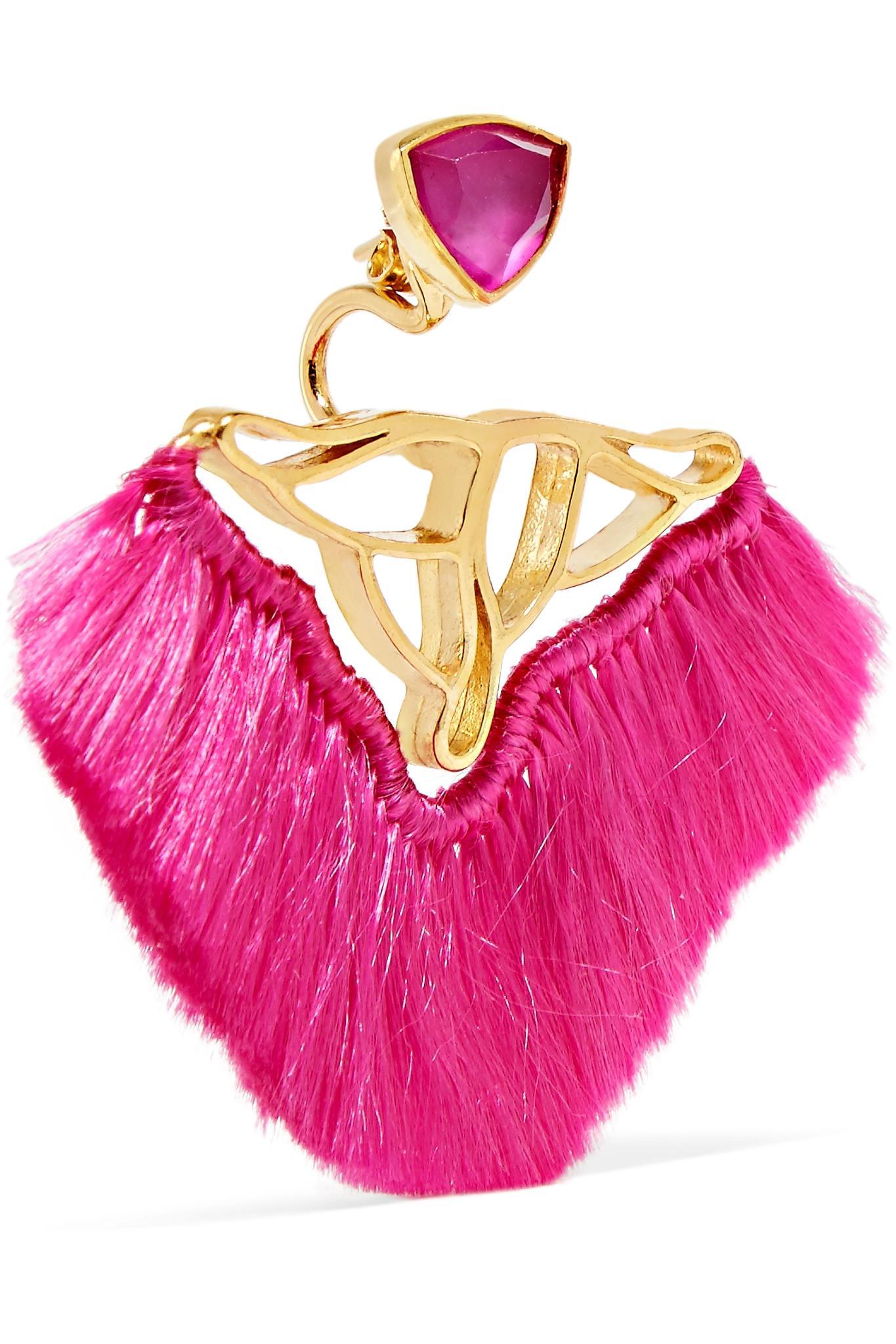 Fringed Gold Vermeil, Quartz And Faux Ruby Earrings - Pink Katerina Makriyianni