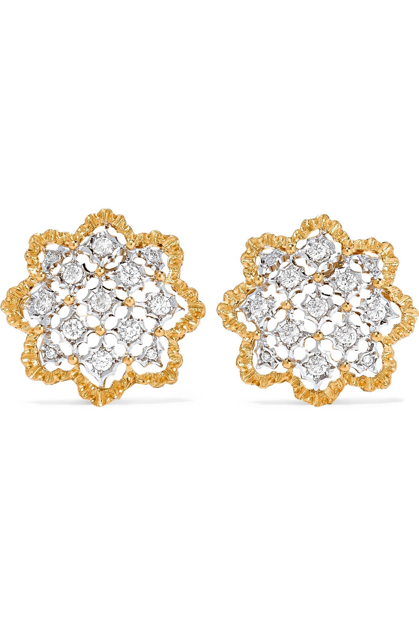Buccellati Rombi 18-karat Yellow And White Gold Diamond Earrings gdmLzJ1u