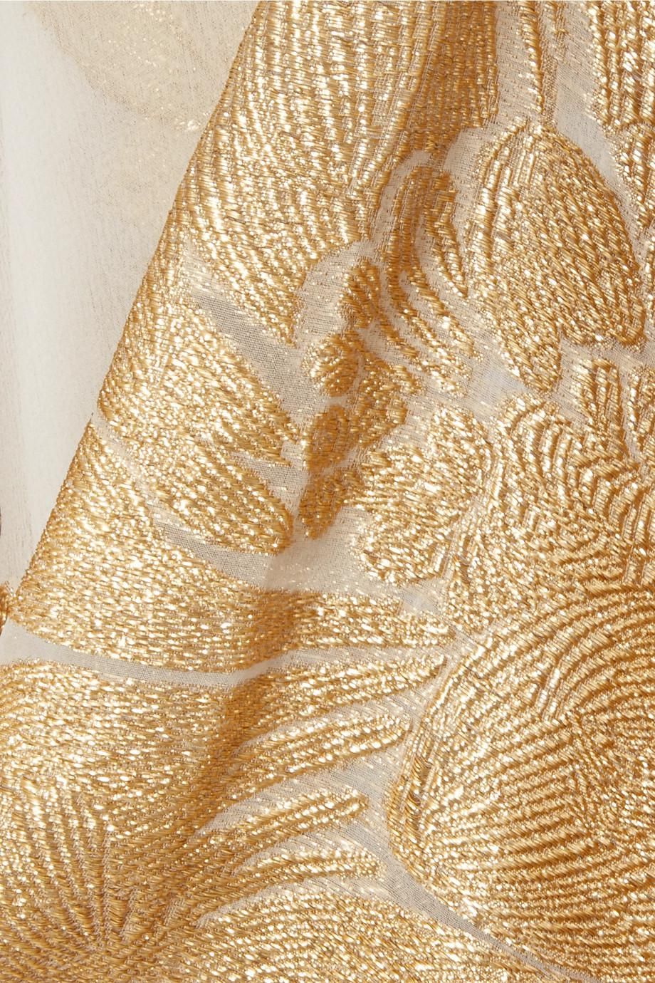 Cheap Sale Looking For Countdown Package Online Big Flower Babani Metallic Silk-blend Chiffon And Jacquard Kimono - Gold Marie France Van Damme Buy Cheap Best Place Under 50 Dollars Browse Cheap Online dO33eH