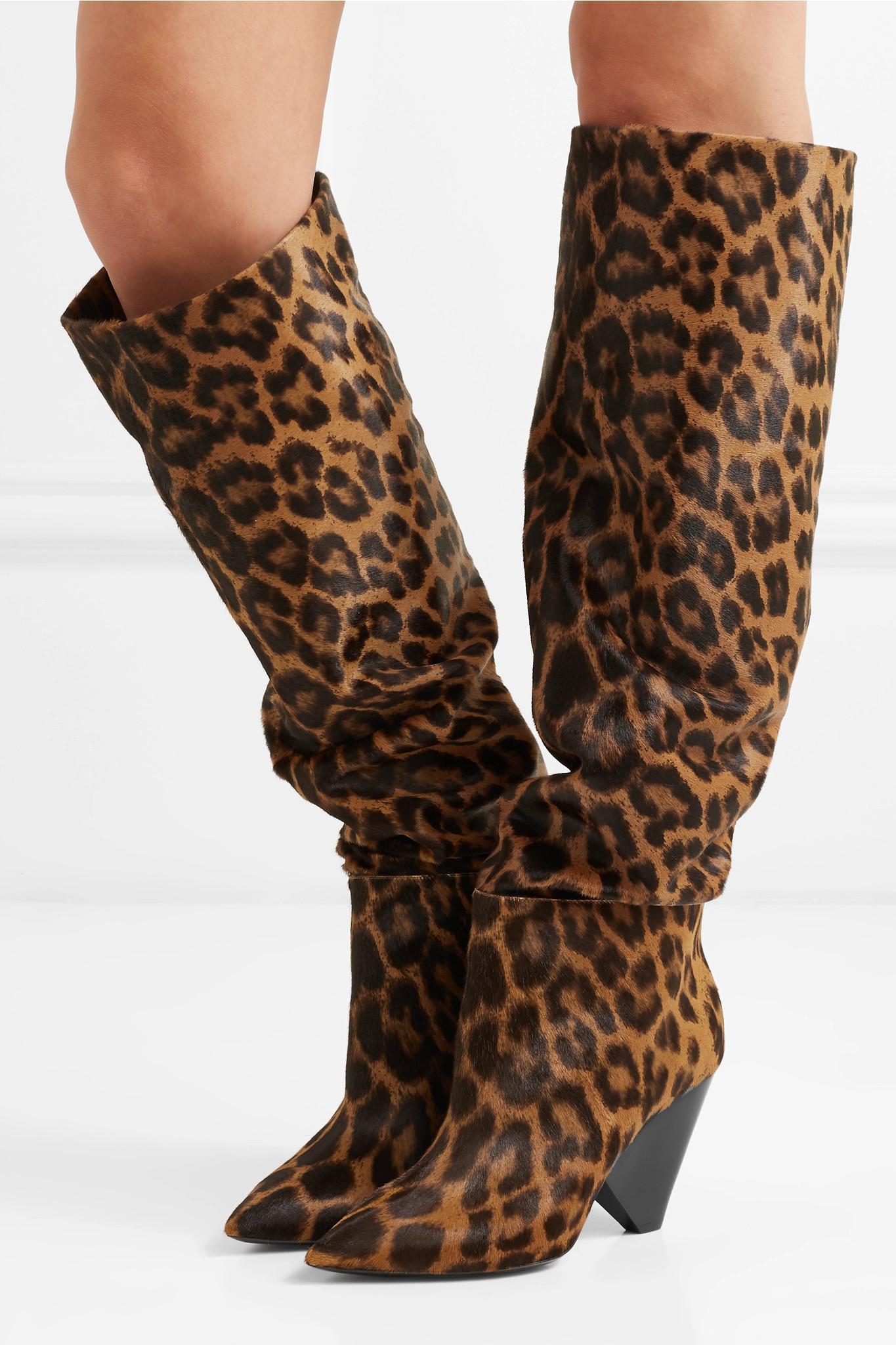 fcb50bc46c59e Saint Laurent - Brown Niki Leopard-print Calf Hair Knee Boots - Lyst. View  fullscreen