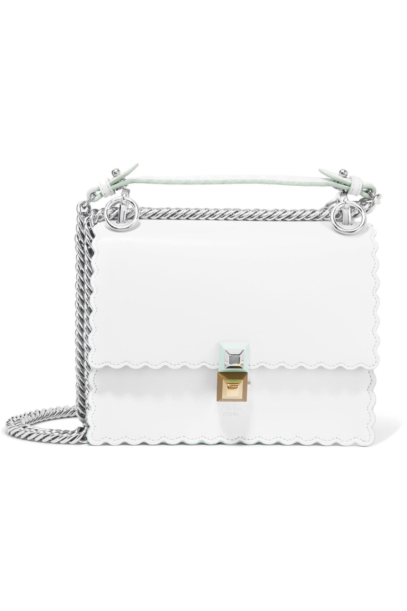 Lyst - Fendi Kan I Mini Leather Shoulder Bag in White 2b115eb650119