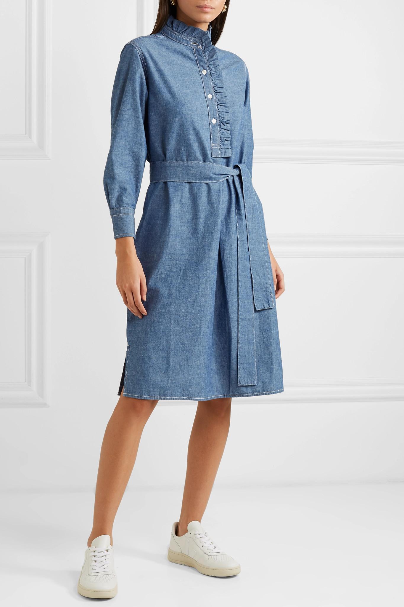 448b99056e Tory Burch - Blue Deneuve Belted Ruffle-trimmed Cotton-chambray Dress -  Lyst. View fullscreen