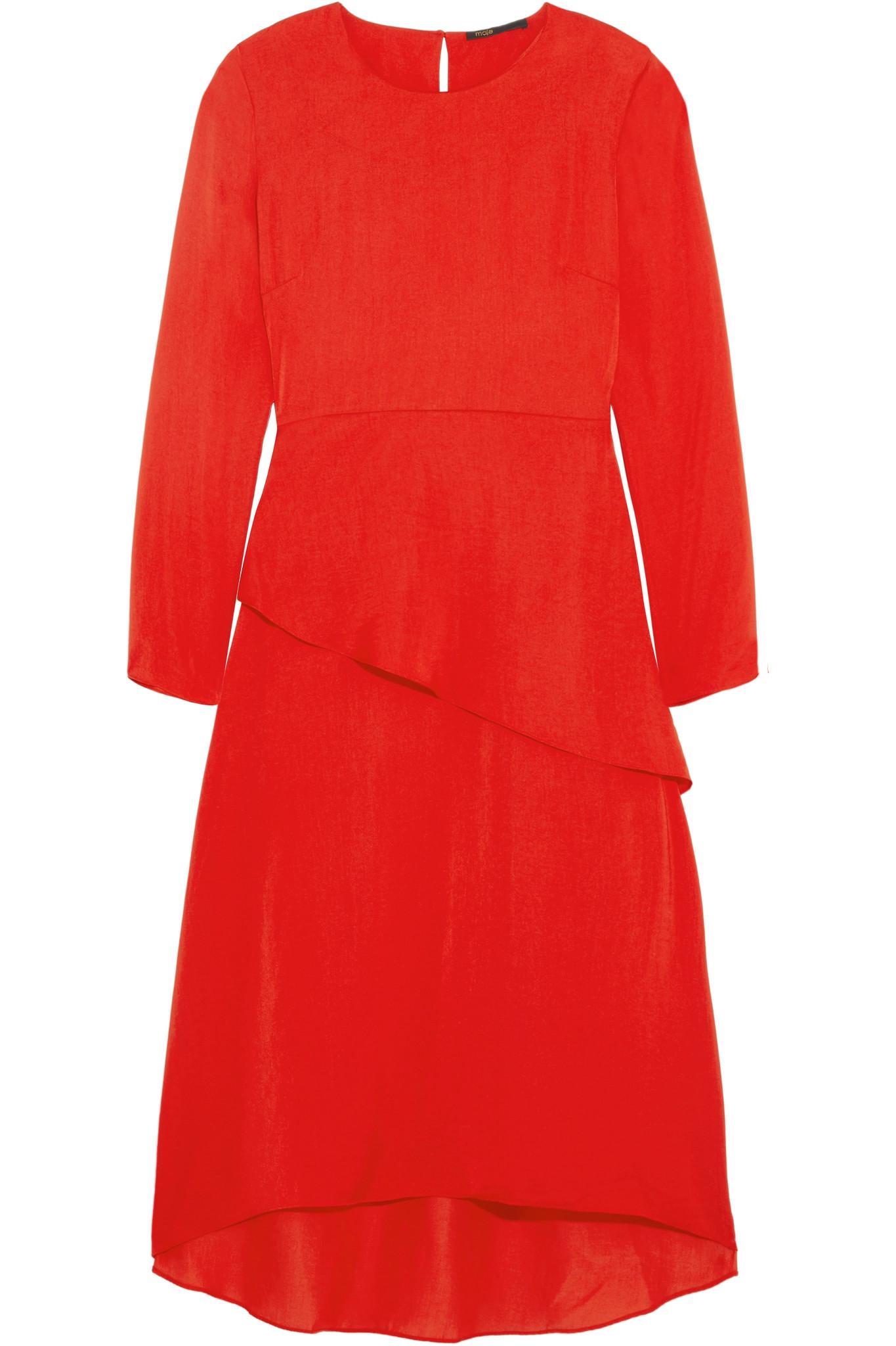 c7fbad547894 Lyst - Robe En Crêpe Satiné à Volants Remania Maje en coloris Rouge
